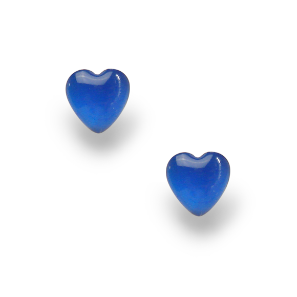 azure blue small sterling silver heart stud earrings by Kate and Moose