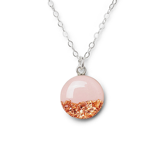 ballet pink with rose gold foil sterling silver confetto necklace by Kate and Moose