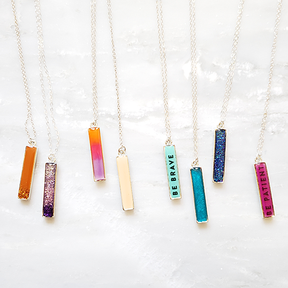 Straight Up - Purple Vertical Bar Necklace