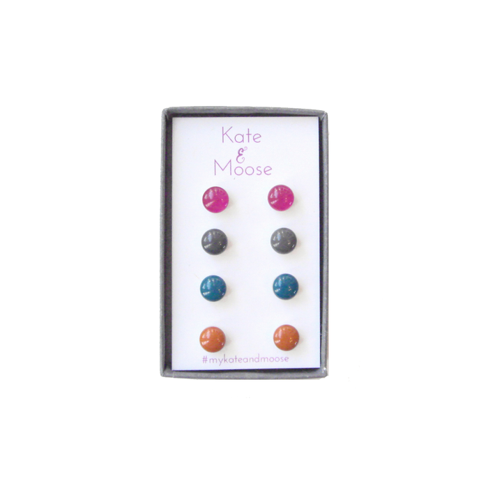 Berry Pink, Charcoal Gray, Dark Teal Blue, and Burnt Orange Small Stud Earring Set