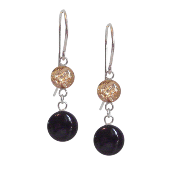 black and gold dangle earrings, black and gold drop earrings
