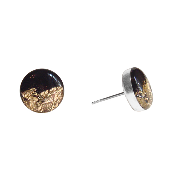 Black & Silver or Gold Stud Earrings