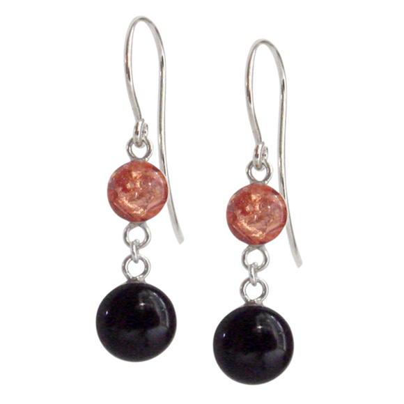 black and rose gold dangle earrings, black and rose gold drop earrings