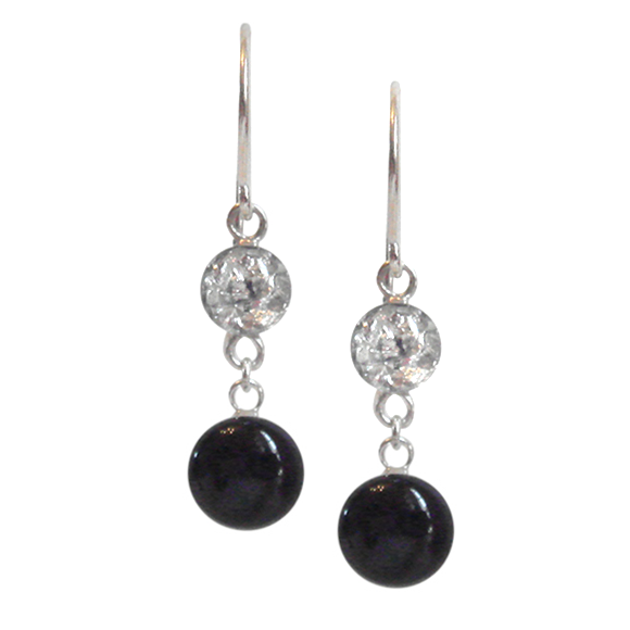 black and silver dangle earrings, black and silver drop earrings