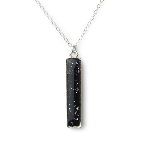Straight Up - Black and Silver Glitter Vertical Bar Necklace