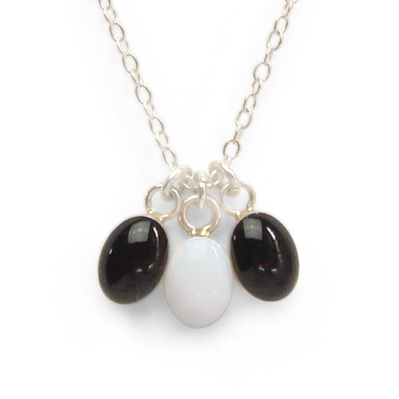 tiny black and white sterling silver confetti necklace by Kate and Moose