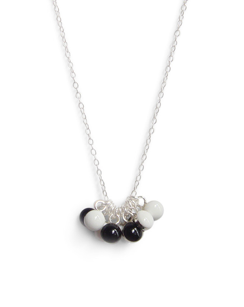 Black and White Tiny Dot Necklace with Sterling Silver Chain