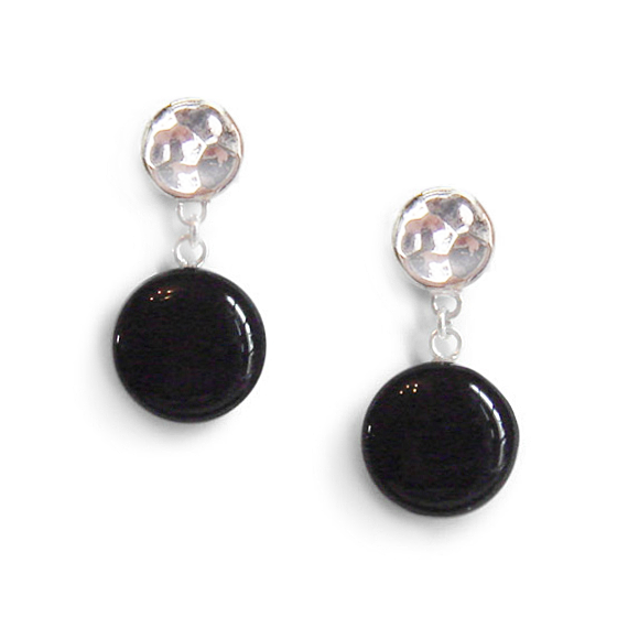 black single dangle earrings by Kate and Moose