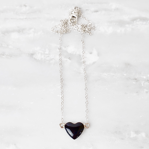 black resin filled sterling silver heart necklace by Kate and Moose