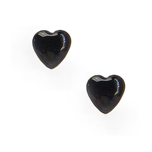 black resin filled sterling silver heart stud earrings by Kate and Moose