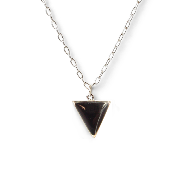 black pewter and fine silver triangle necklace by Kate and Moose