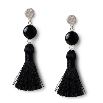Black Sterling Silver Tassel Earrings by Kate and Moose