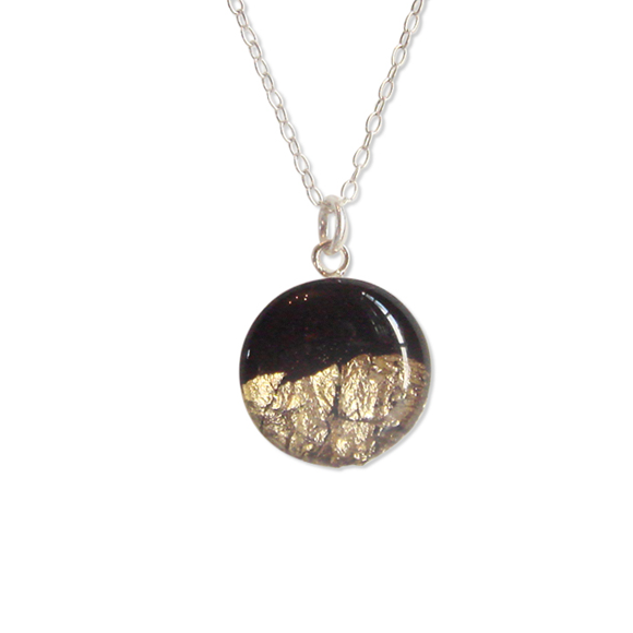 black with gold foil sterling silver confetto necklace by Kate and Moose