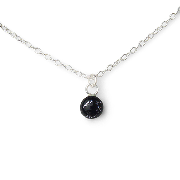 Confetto - Black & Silver Glitter Tiny Layering Necklace