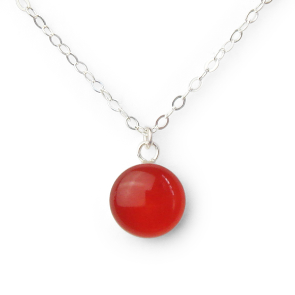 blood orange resin filled sterling silver small confetto necklace by Kate and Moose