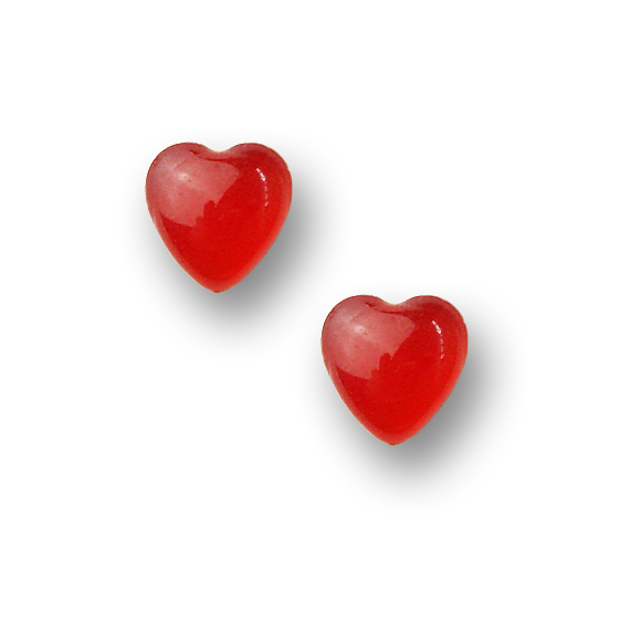 small sterling silver blood orange resin filled heart stud earrings by Kate and Moose