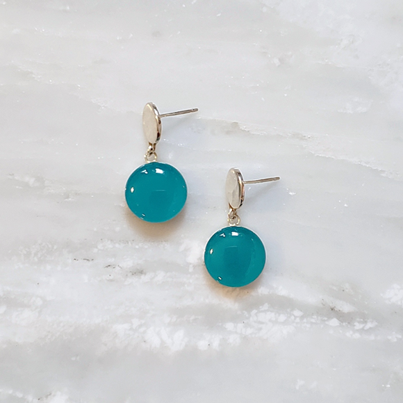 Aqua Teal Confetto Drop Earrings