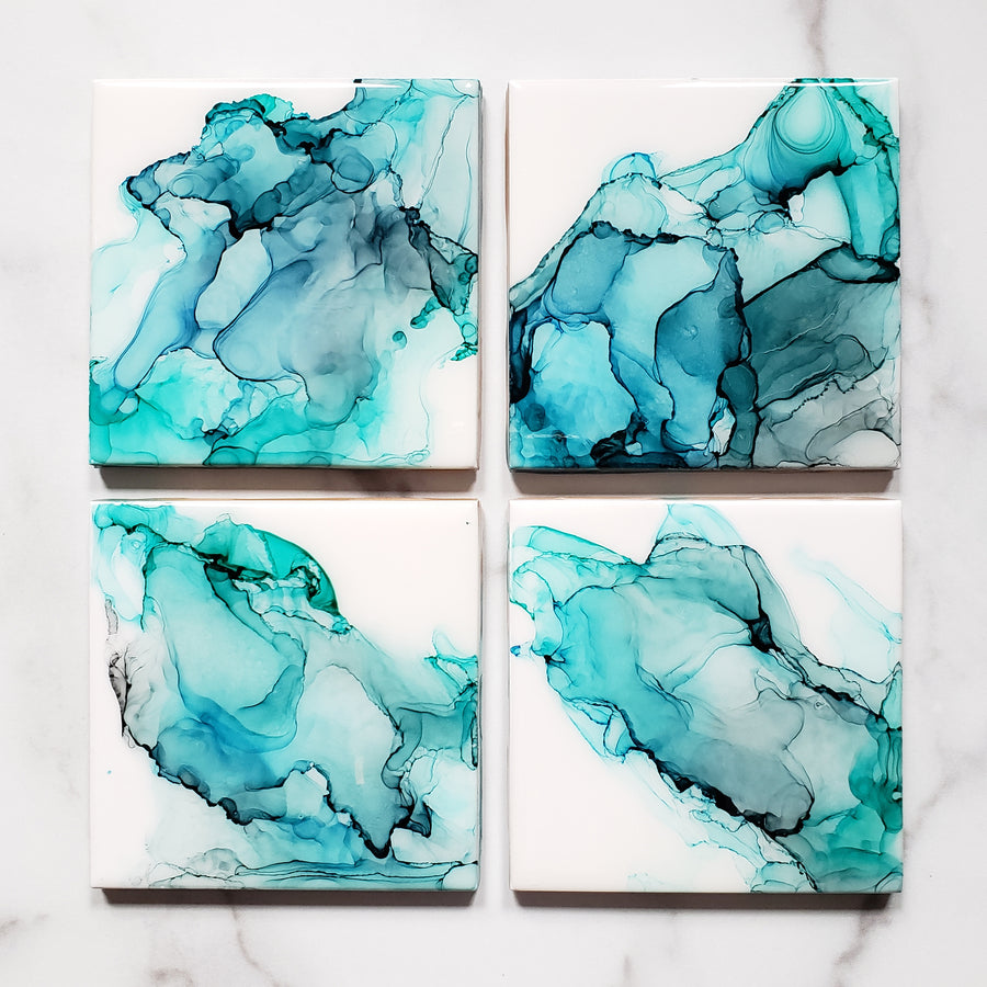 full set of Blue Green Turquoise Ceramic Drink Coasters