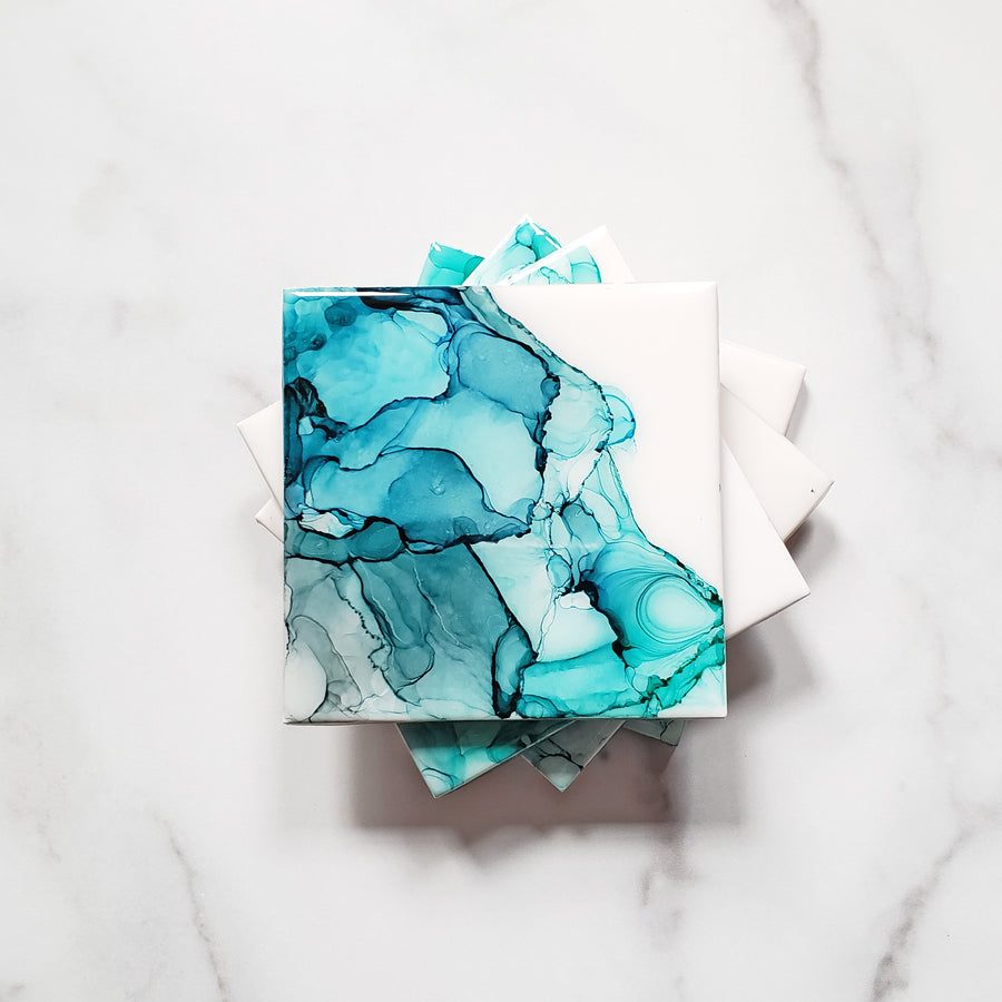 Blue Green Turquoise Alcohol Ink Designed Ceramic Coasters