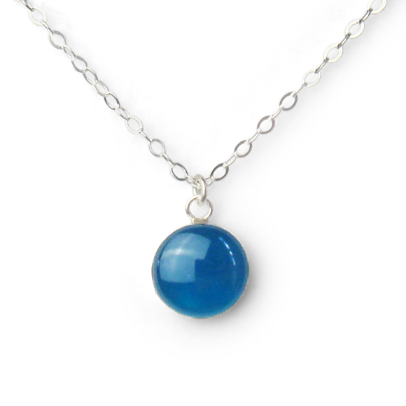 blue lagoon resin filled sterling silver small confetto necklace by Kate and Moose