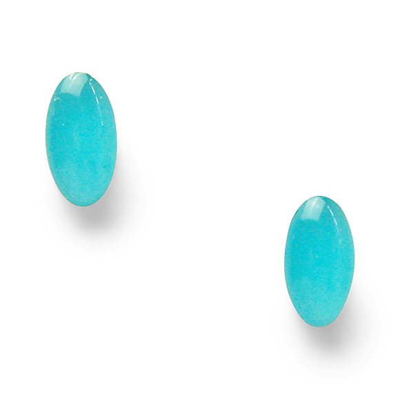 Island Blue Mini Oval Stud Earrings