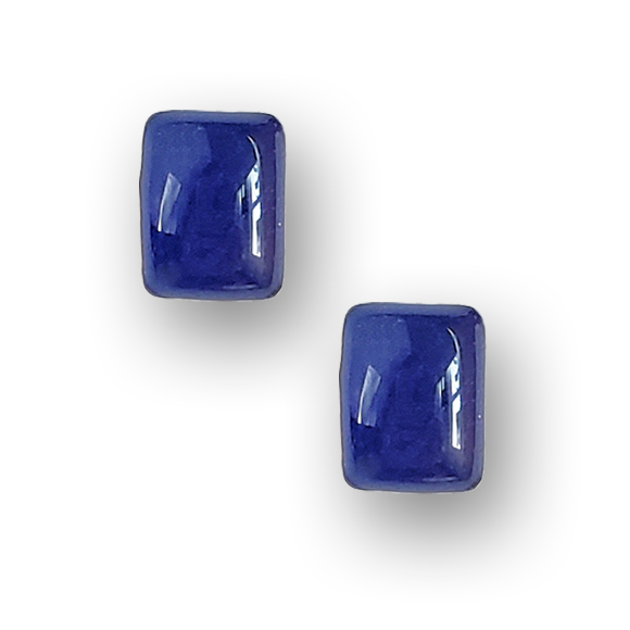 blueberry resin filled sterling silver rectangle stud earrings by Kate and Moose