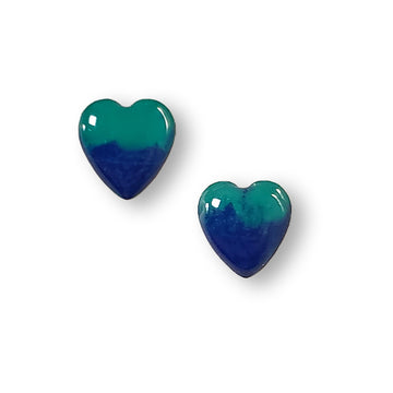 Blue and Green Small Sterling Silver Heart Stud Earrings