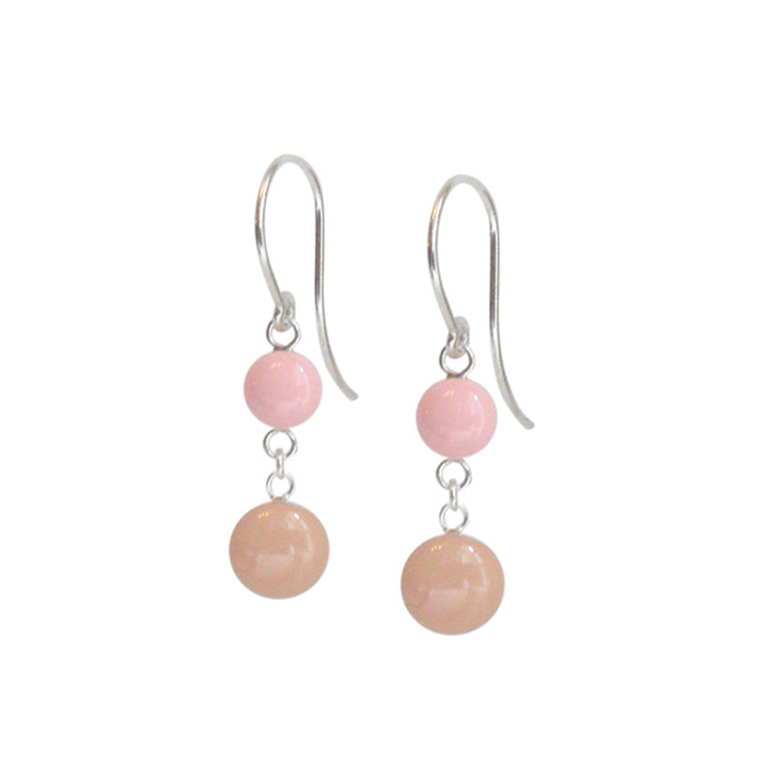 Ballet Pink and Neutral Nude Double Dangle Earrings