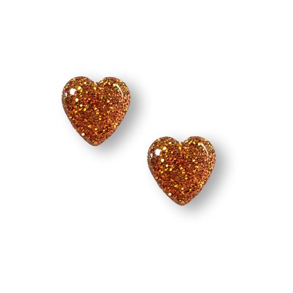 Bronze Glitter Small Sterling Silver Heart Stud Earrings