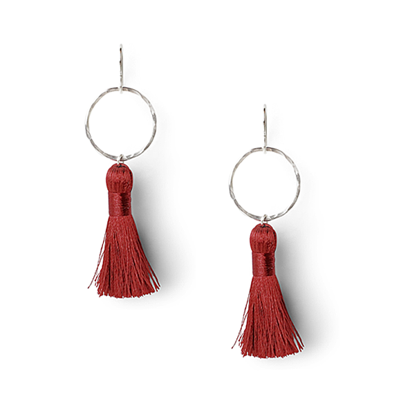 burgundy and hammered sterling silver tassel earrings by Kate and Moose