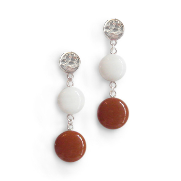 white and burnt orange double dangle earrings by Kate and Moose