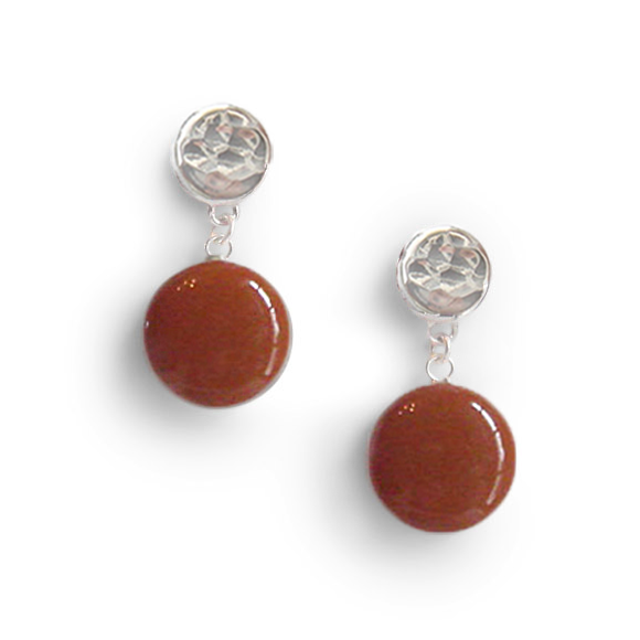 burnt orange single dangle earring by Kate and Moose