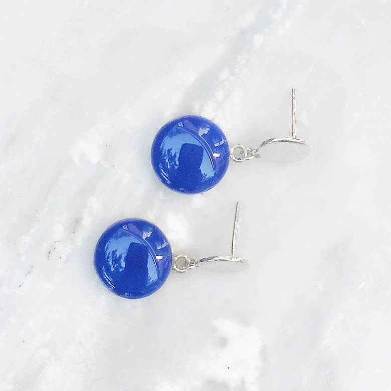 cobalt blue dangle earrings by Kate and Moose
