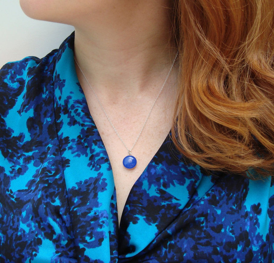 Bright Cobalt Blue Resin Necklace with Sterling Silver Chain