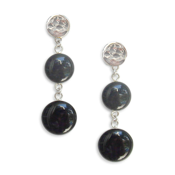 dark gray and black double dangle earrings by Kate and Moose