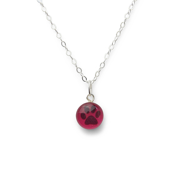 Custom Large Confetto - Purple Glitter Pawprint Layering Necklace