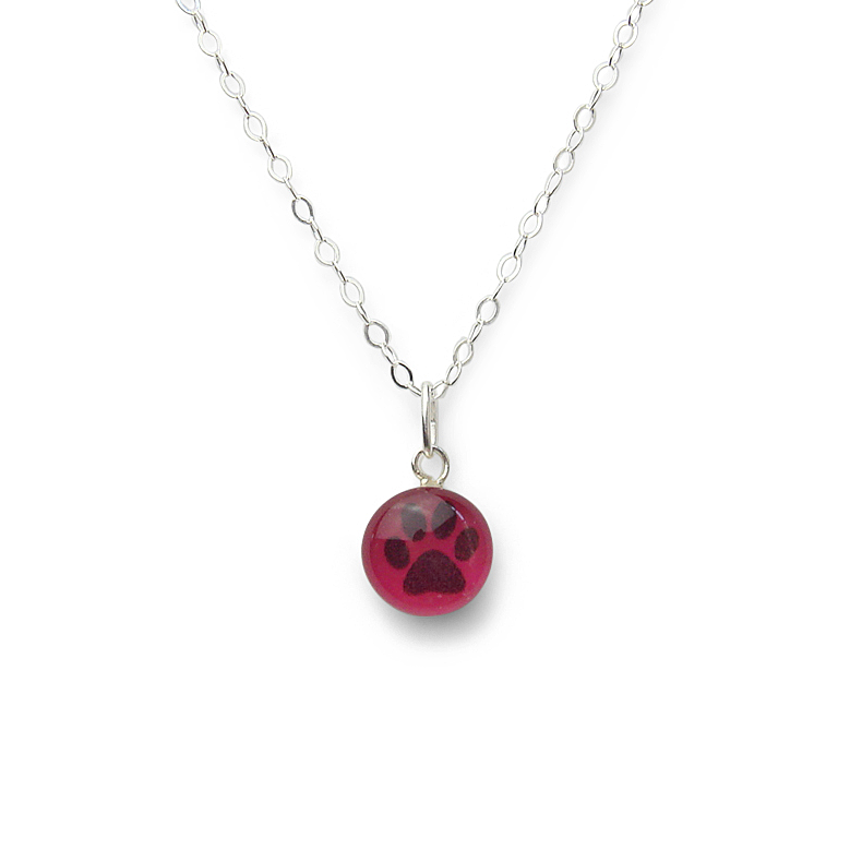 Confetto - Dark Pink Pawprint Small Layering Necklace