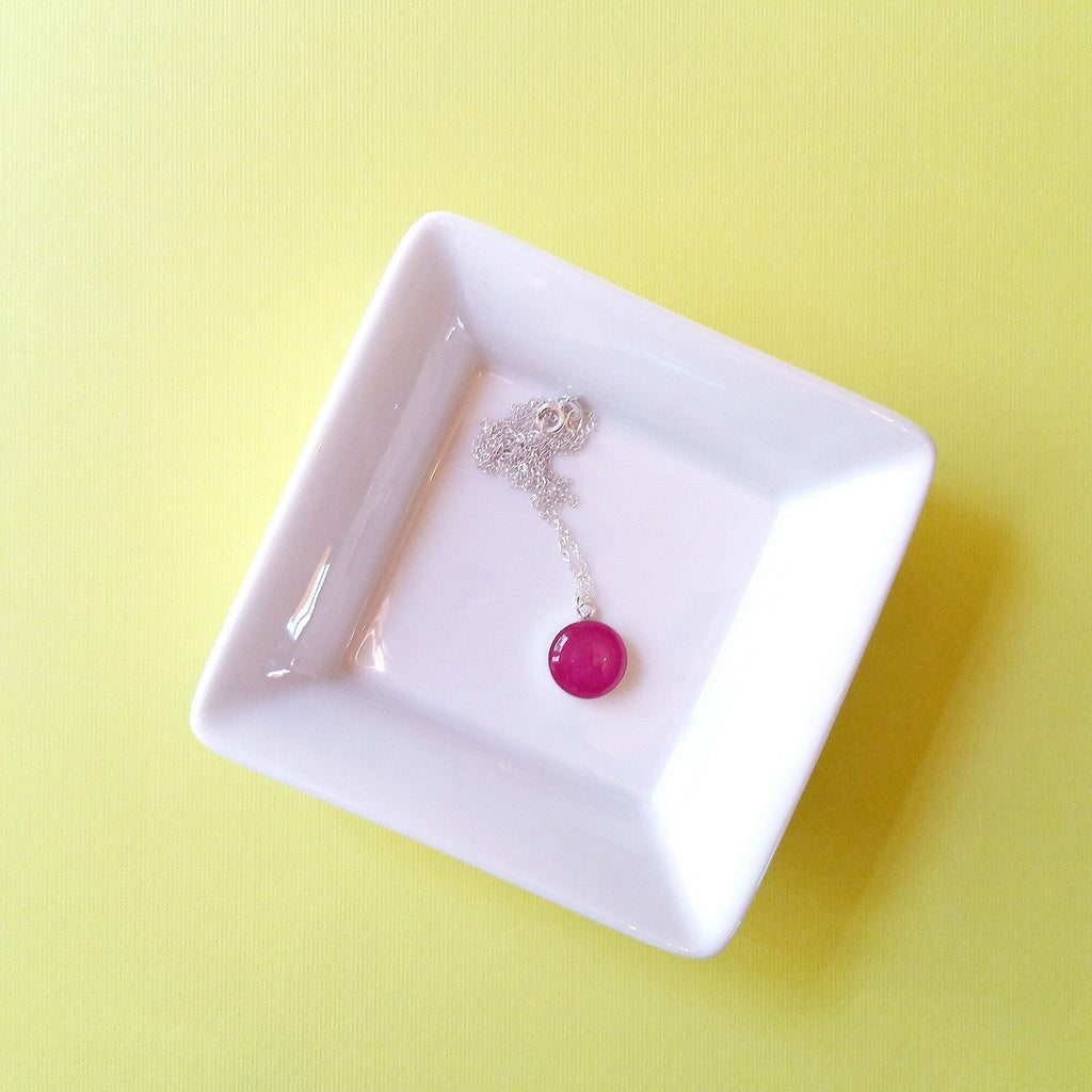 Rose Garden Pink Resin Necklace with Sterling Silver Chain