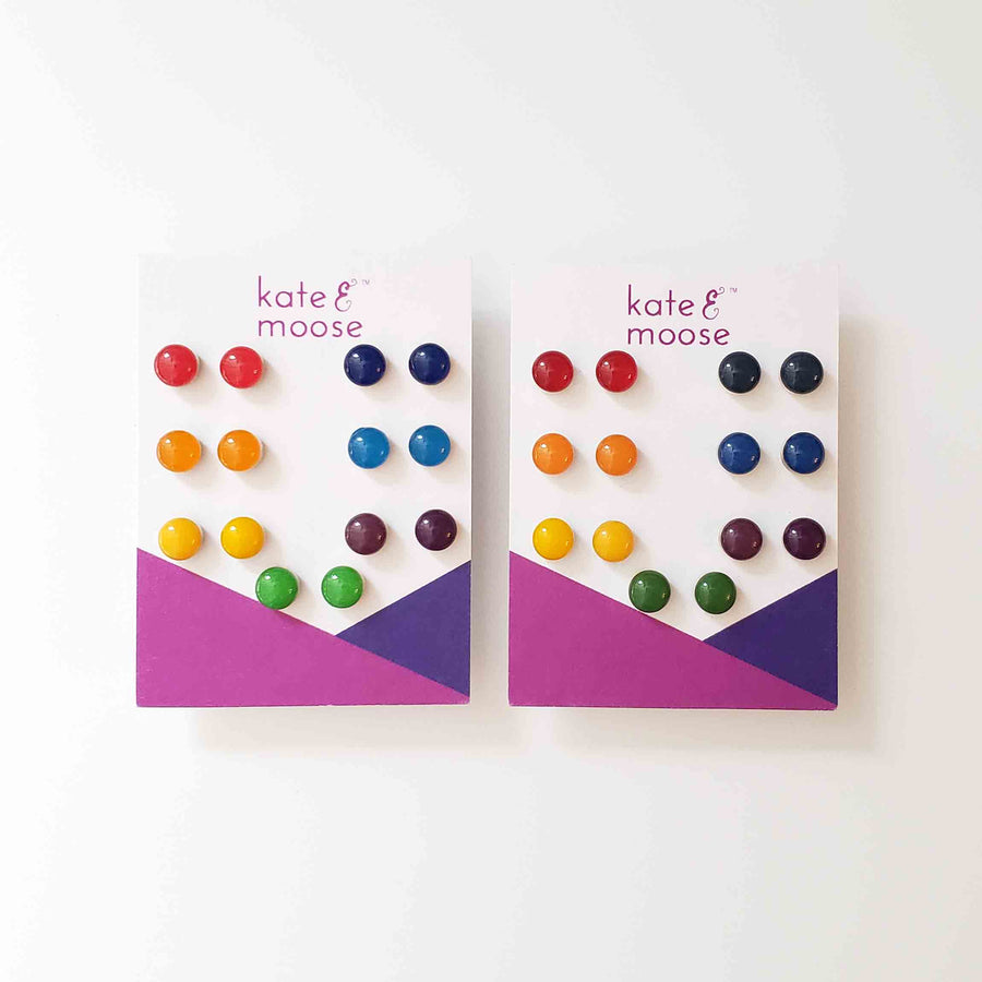 ROYGBIV Rainbow Small Stud Earrings in vibrant versus muted colors