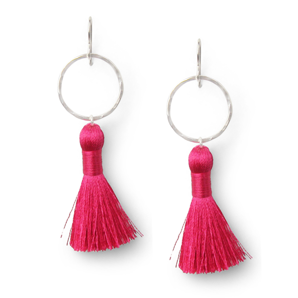 hot pink and hammered sterling silver tassel earrings by Kate and Moose