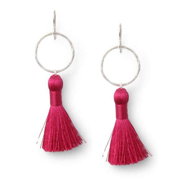 dragonfruit pink and hammered sterling silver tassel earrings by Kate and Moose