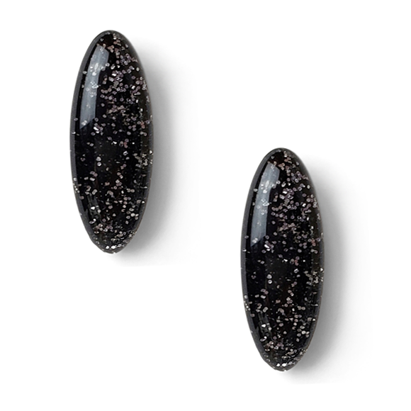 Black and Silver Glitter Resin Sterling Silver Stud Earrings