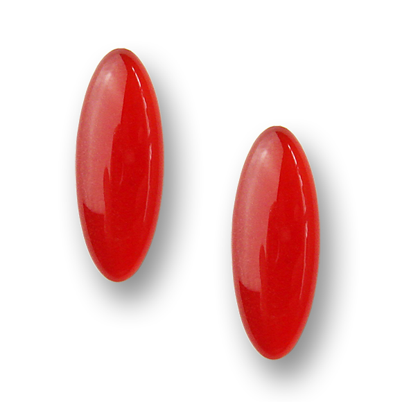 blood orange resin filled sterling silver earcrawler stud earrings by Kate and Moose