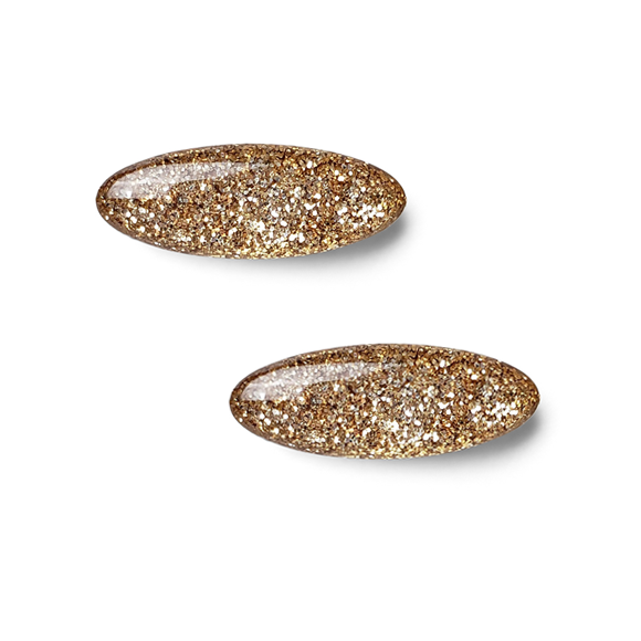 Gold Glitter in Resin Sterling Silver Stud Earrings