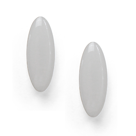 light gray resin filled sterling silver earcrawler stud earrings by Kate and Moose