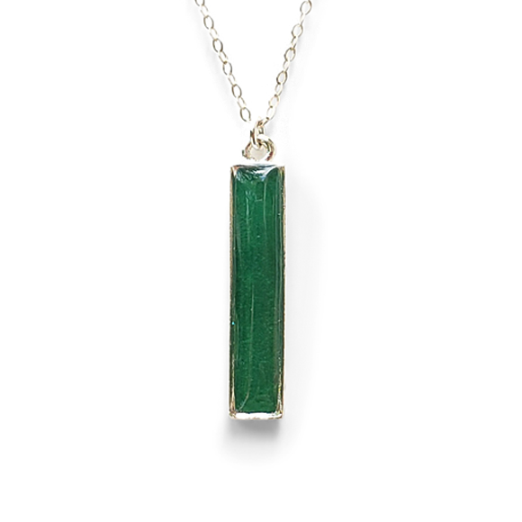 Straight Up - Emerald Green Vertical Bar Necklace