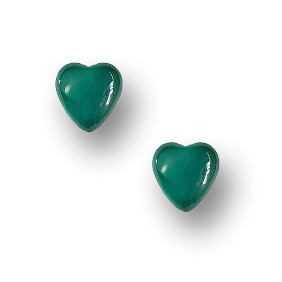 emerald green resin filled sterling silver heart stud earrings by Kate and Moose