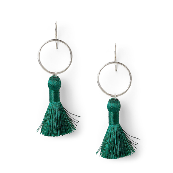 emerald green and hammered sterling silver tassel earrings by Kate and Moose