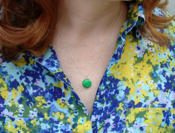 Emerald Green Resin Necklace with Sterling Silver Chain