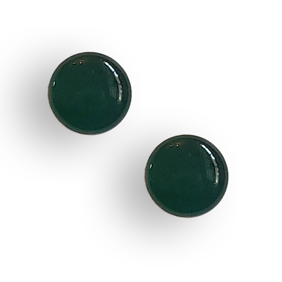 evergreen resin filled sterling silver large circle stud earrings by Kate and Moose